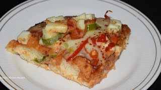 Dominos Style Veg Peppy Paneer Pizza Recipe-Home made recipe in hindi-How to make Pizza in Microwave