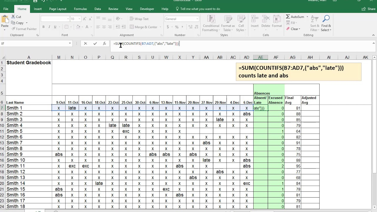 Excel   COUNTIFS with multiple criteria and OR logic