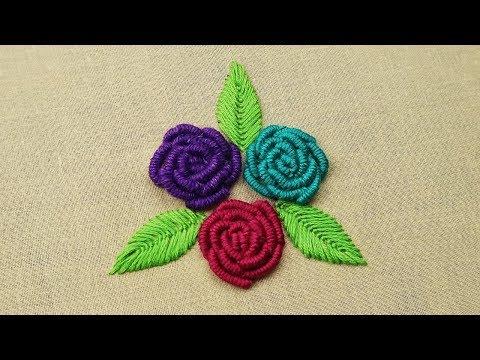 Hand Embroidery- Bullion Knot Rose Stitch Embroidery | Brazilian Embroidery