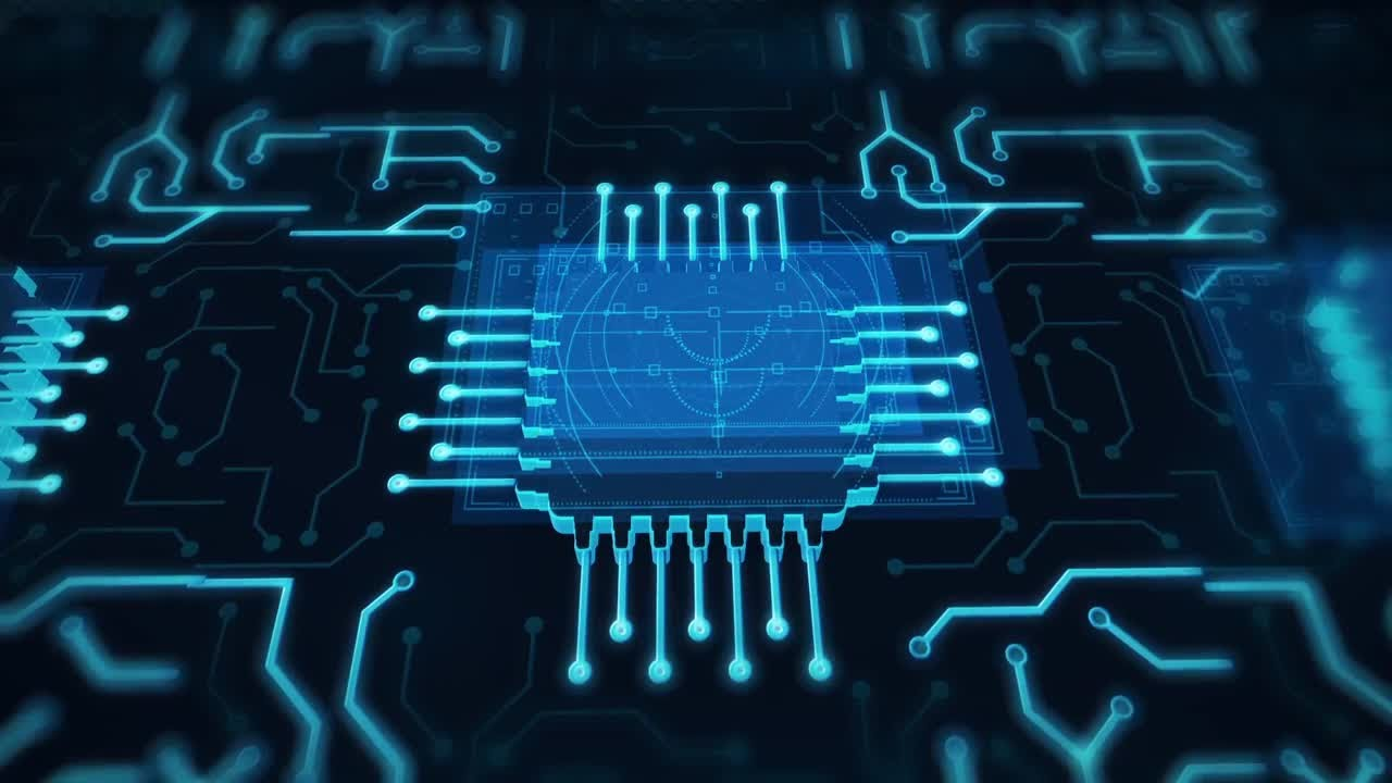 Futuristic Animated Blue Circuit Board Motion Graphics - YouTube
