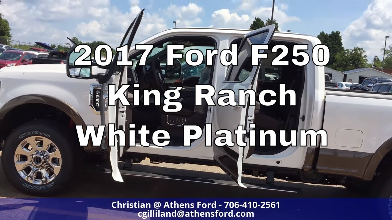 2017 ford f250 king ranch white platinum metallic walk around and look inside youtube. Black Bedroom Furniture Sets. Home Design Ideas