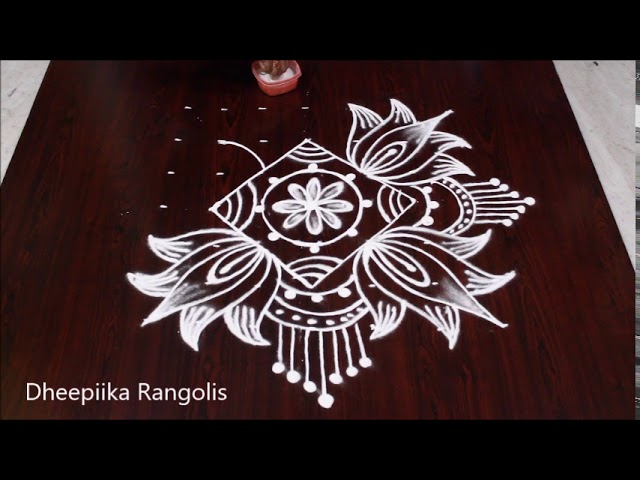 Beautifull lotus rangoli design with 7x7 dots * simple & easy friday lotus kolam * chukkala muggulu