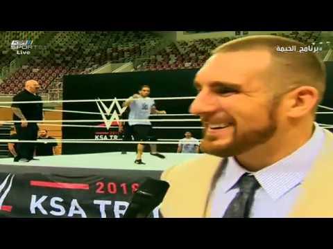 نجم WWE يتحدث العربية مع مراسل KSA SPORTS  ولا يستطيع التوقف عن الأكل #برنامج_الخيمة