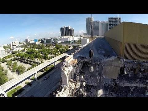 Aerial Video Filming Miami Herald Demolition