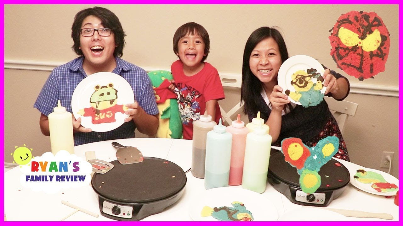 Family Pancake Art Challenge Mommy Vs Daddy Youtube