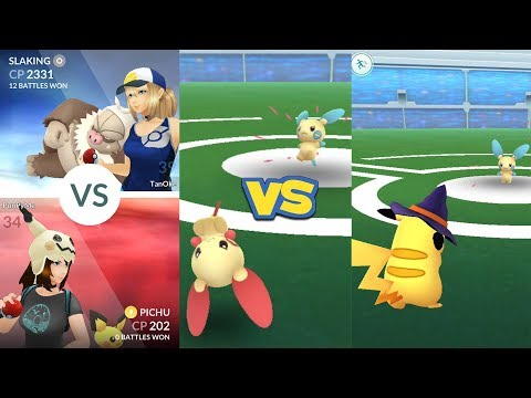 Pokémon Go Gym Battle Plusle, Pichu, Pikachu vs Minun & Slaking