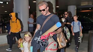 David And Victoria Beckham Head Back To London With The Kids
