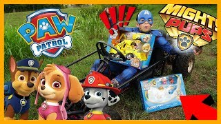 Captain America Finds Paw Patrol Mighty Pups in fun Go kart Toy Hunt Adventure Pretend play for kids