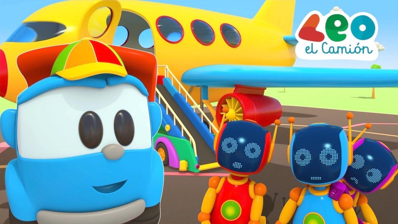 Leo el Camión - El Viaje de Leo Lea y los robots - Aviones para niños