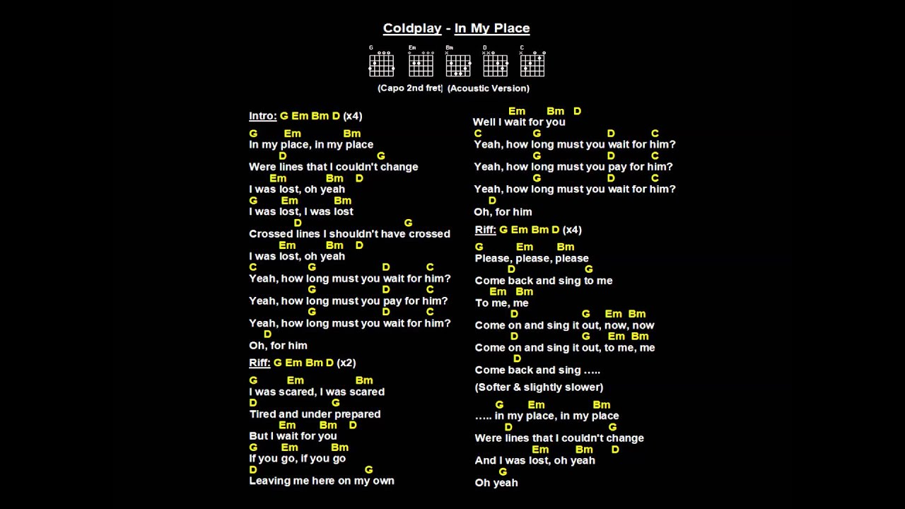 coldplay in my place backing track with chords amp lyrics