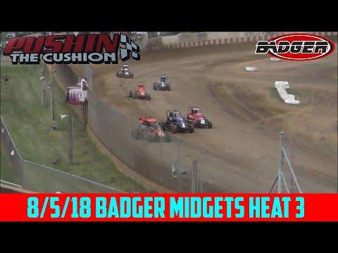 Angell Park Speedway - 8/5/18 - Badger Midgets - Heat 3