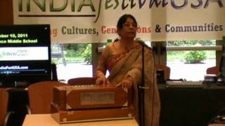 Usha Gupta sings at the Indian Independence Day in Cleveland