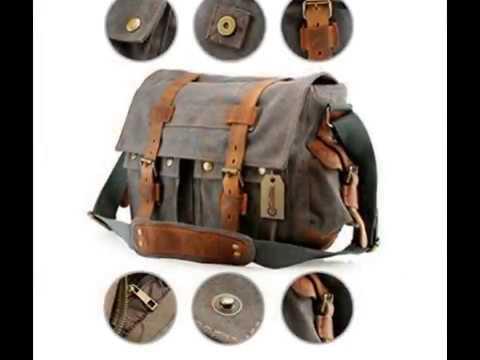 GEARONIC TM Men s Vintage Canvas and Leather Satchel School Military  Shoulder Bag 4000e611d9
