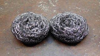 Damascus steel from steel pot scrubber + recipe.