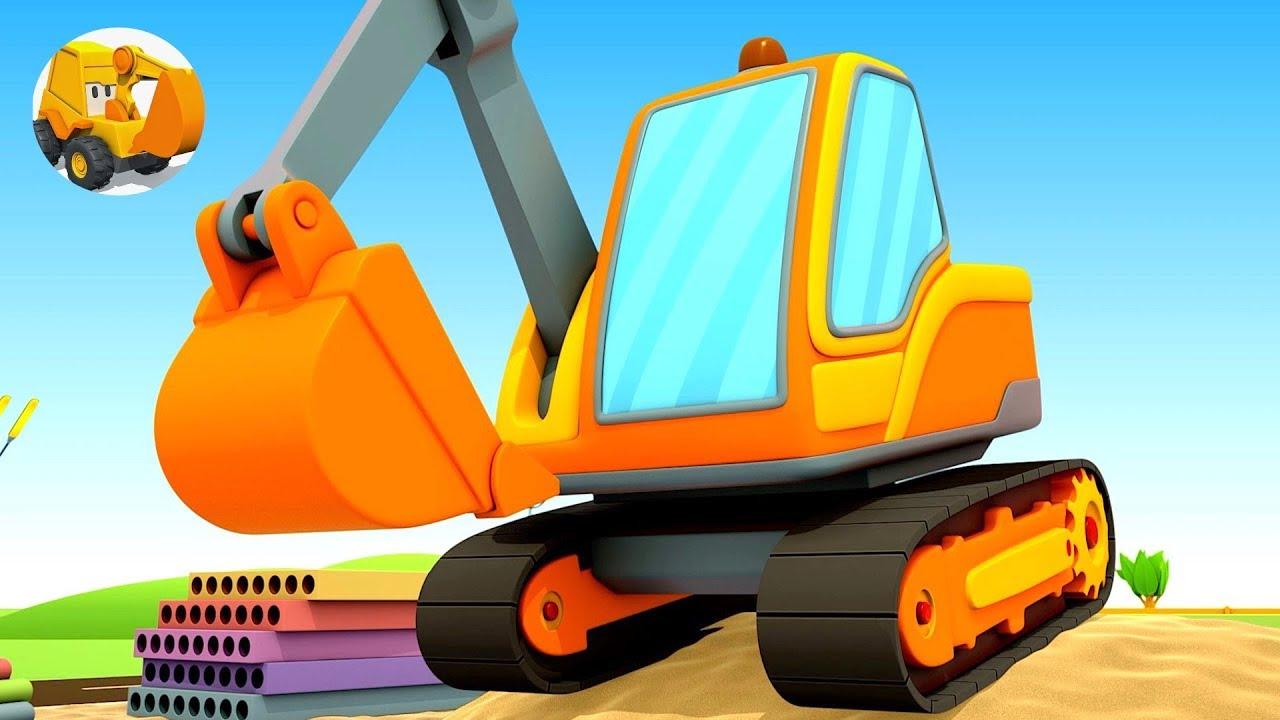 Camiones de construcción para niños - Excavadora - La Escuela de Autos