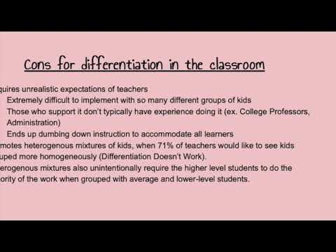 Pros and Cons of Differentiation in the ClassroomExed 520