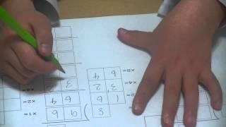 ちさちゃん(年長)、わり算の筆算に挑戦!96÷8を筆算で解いています...