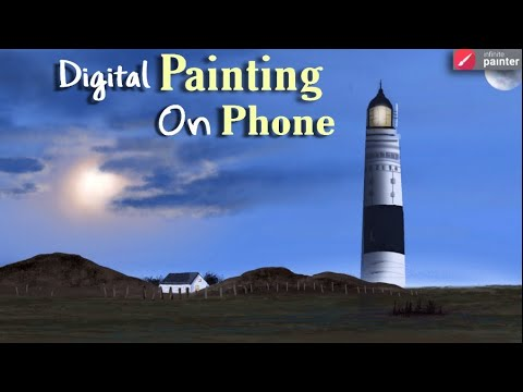 Infinite Painter, Light House Drawing || Mobile Phone digital art || Infinite Painter Tutorial ||