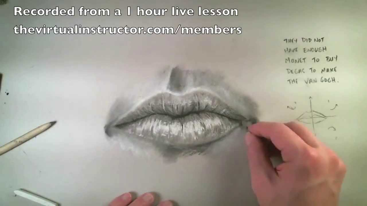 How To Draw A Realistic Mouth With Charcoal