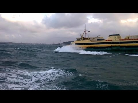 Rough Day With Big Waves On Manly Ferry From Sydney Australia 22/05/2015