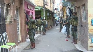 Brazilian army patrolling Rio de Janeiro
