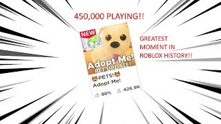 ROBLOX WORLD RECORD!! (ADOPT ME REACHES 450K CONCURRENT PLAYER COUNT)