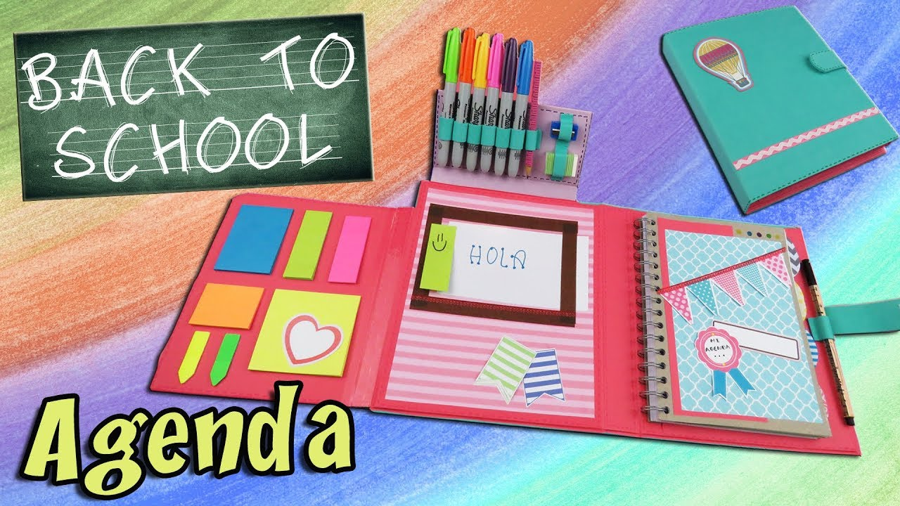 Diy notebook organizer how to make a organizer back to school apasos crafts diy youtube - Como hacer una agenda escolar ...