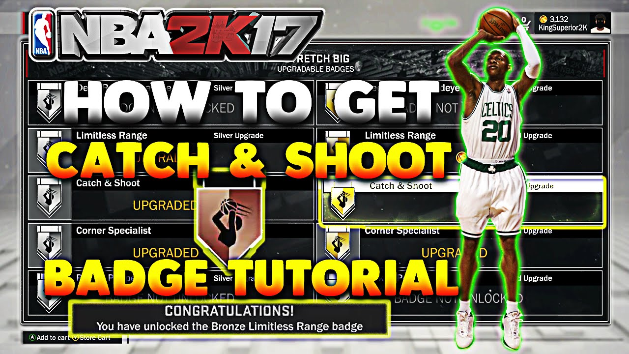 NBA 2K17 How To Get Catch & Shoot Badge Easy   Best and Easiest ...