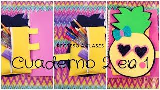 Cuaderno 2 en 1/ Utiles Escolares 2018  ^.^ Piña Kawaii