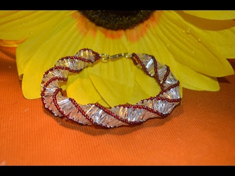 Бралет из бисера.  Стеклярусный жгут.  Бисероплетение.  Мастер класс / Wiring of beads. Beading