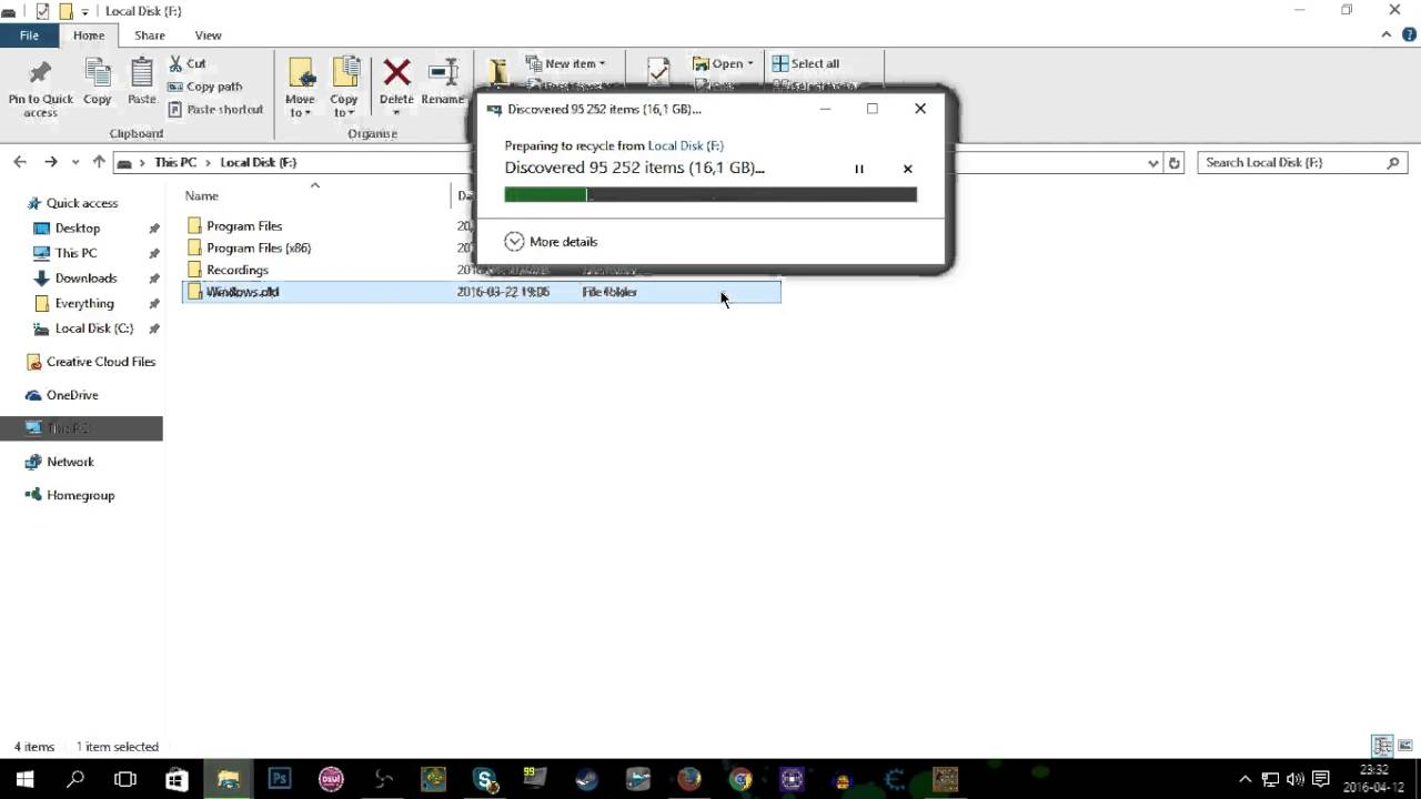 deleting system32 and all windows files