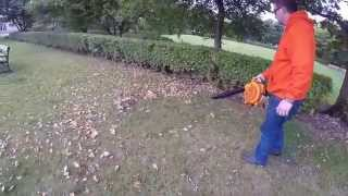TIMBERPRO 26cc Blower Vac Clearing Leaves on Grass