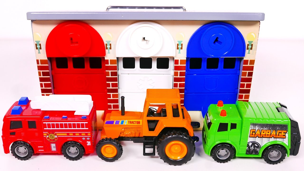 Learn Colors With Toy Vehicles And Garage Playset For Kids Compilation Video Children