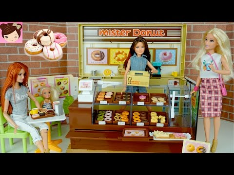 Barbie Drive Thru Donut Shop with Frozen Elsa Moana Disney Princesses - Licca Mister Donut Playset