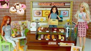 Barbie Drive Thru Donut Shop with Frozen Elsa Moana Disney Princesses - Licca Mister Donut Playset