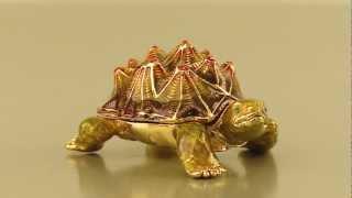 Faberge Style Turtle Trinket Box By Keren Kopal Swarovski Crystal Jewelry Box
