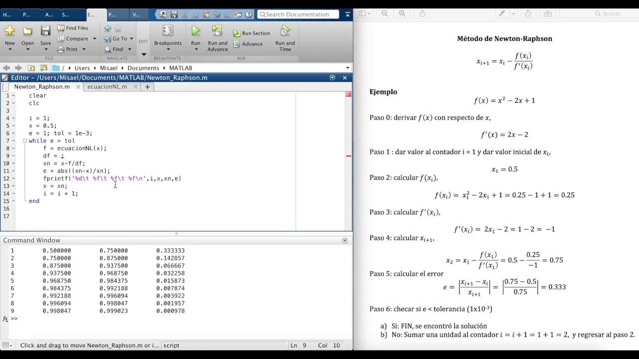 Método de Newton-Raphson Usando MatLab