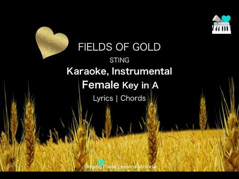 Fields of Gold Sting Karaoke Instrumental in Female Key