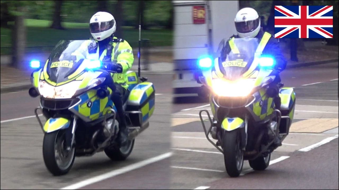 Police Motorcycles Responding With Siren And Lights X2