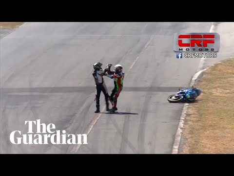 Scott & Stu - Motorcycle Racers Get into Bizarre Fight on Racetrack