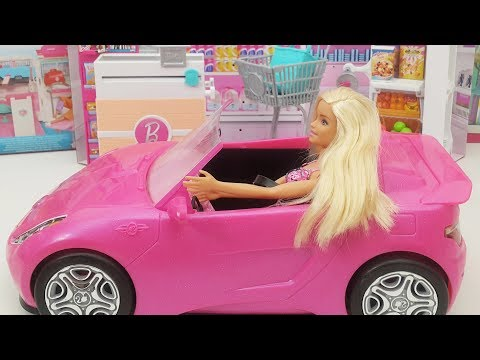 Barbie Toys Review Video; Barbie Supermarket Playset & Pink Barbie Doll Car Vehicles
