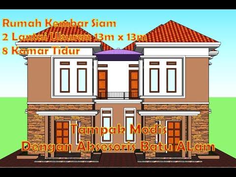 desain rumah kampung model kembar 2 lantai untuk 2