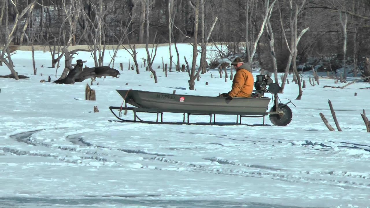 Rare ice sled is a novel idea free fishing video on for Ice fishing sled ideas