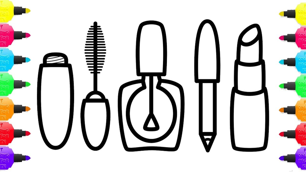 Makeup Coloring Pages | Coloring Pages Cosmetics, Brushes, Lipstick | Art  Colors for Kids