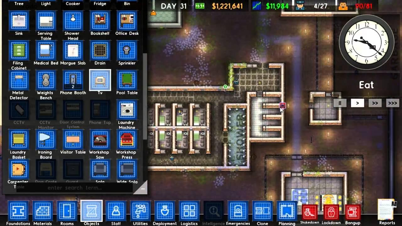 Prison Architect Playthrough 4 TVs