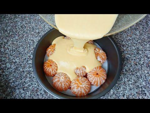 Взяла свежие мандарины и залила их тестом. Получается карамельный пирог с мандаринами. Tangerine Pie