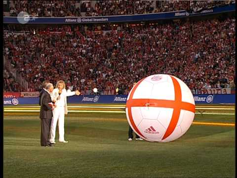 Giant flying football at Allianz Arena Opening Show ZDF