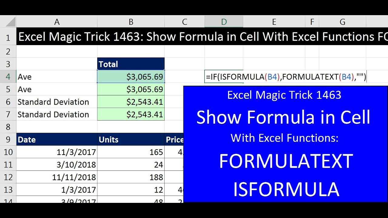 5 tips for understanding standard deviation - Excel Magic Trick 1463 Show Formula In Cell With Excel Functions Formulatext Isformula