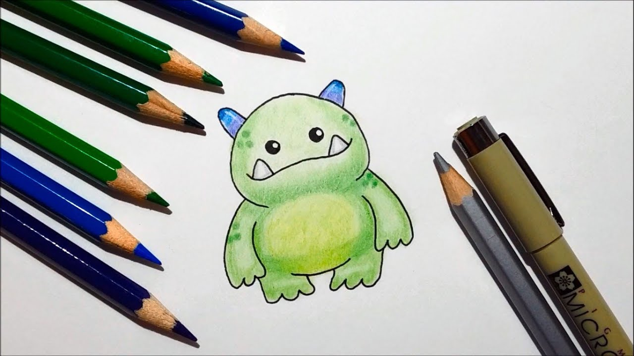 How To Draw A Cute Cartoon Monster Easy Youtube