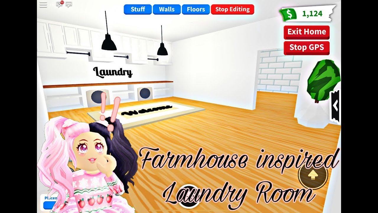 Roblox Laundromat Farmhouse Inspired Laundry Room Adopt Me Building Hacks Roblox Youtube